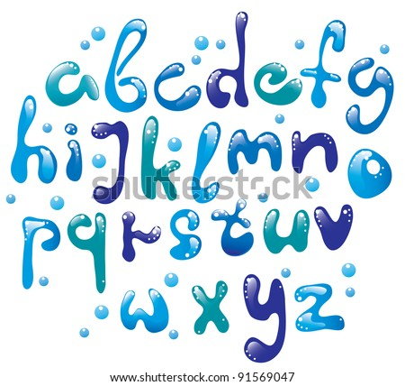 Cute glossy blue water alphabet , vector, EPS10