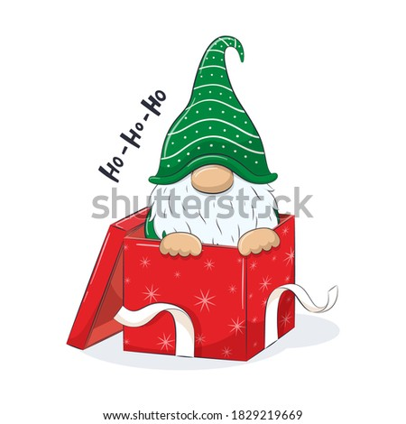 Cute gnome in gift box. Vector illustration for baby shower, greeting card, party invitation, fashion clothes t-shirt print. Stock foto ©