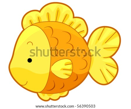 goldfish cartoon cute. stock vector : Cute Gold Fish