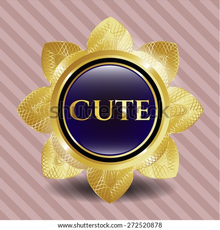 Cute gold shiny flower with pink background