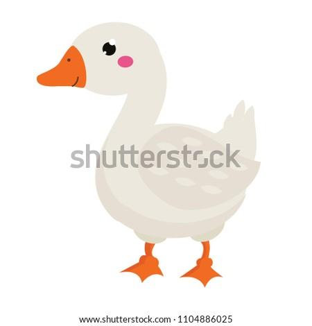 Cute goose. Cartoon farm bird isolated on white