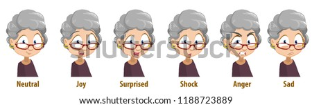 Cute grandma in glasses with various facial emotions. Avatars with neutral, joy, surprise, shock, anger and sad emotions. Female pensioner personage icons. Granny in cartoon style vector illustration