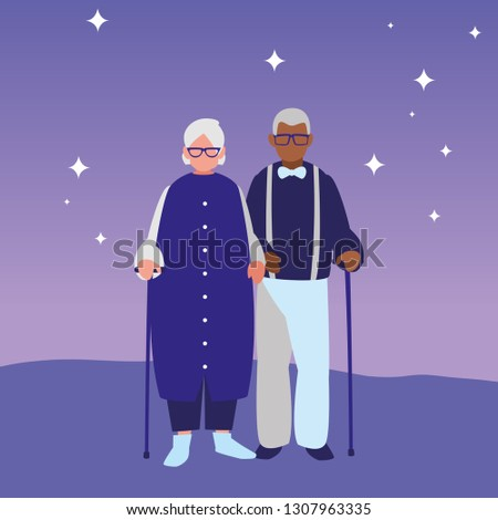 cute grandparents couple interracial characters