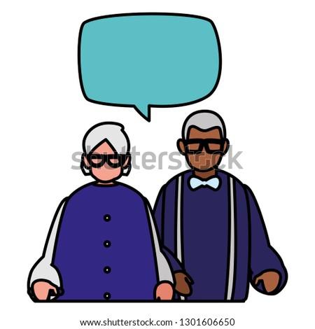 cute grandparents couple interracial talking