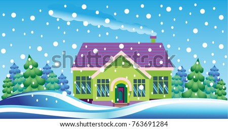 cute graphic house with trees