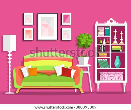 cute graphic living room