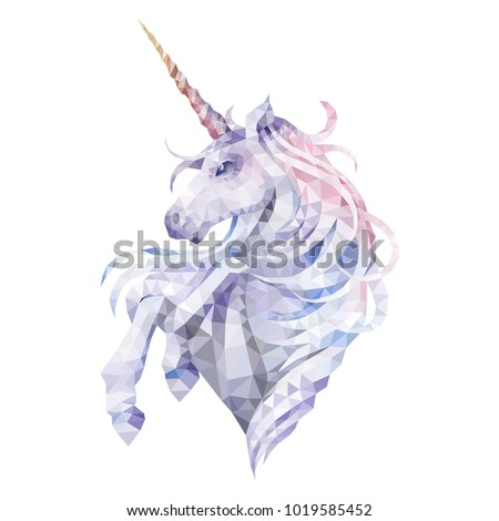 cute graphic low poly unicorn