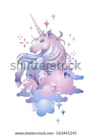 cute graphic unicorn in the sky