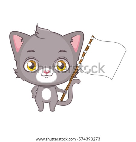 cute gray cat character holding