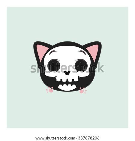 cute gray cat mascot facial