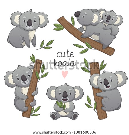 Cute gray koala in differet poses set: sitting, climbing the tree, with a baby. Vector illustration cartoon animal. Isolated on white