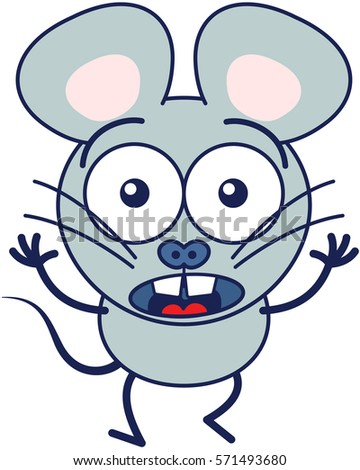 cute gray mouse in minimalistic