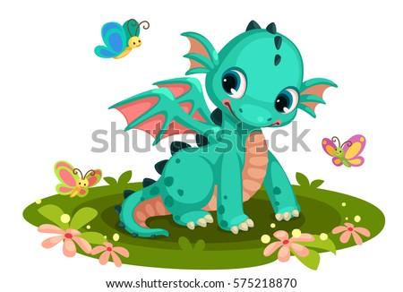 cute green baby  dragon cartoon
