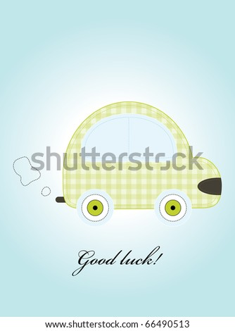 Cute green car. Vector illustration
