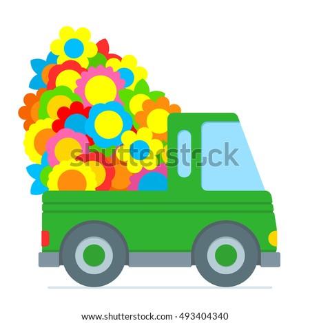 cute green cartoon truck making