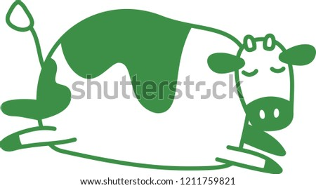 Cute Green cow silhouette illustration
