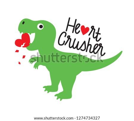 cute green dinosaur crushing
