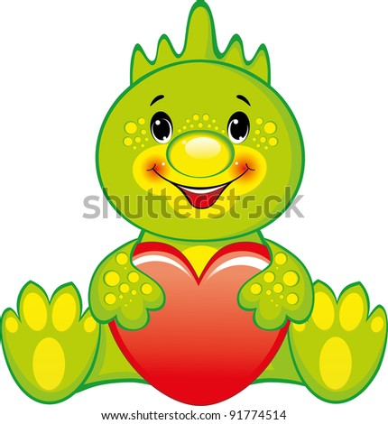 Cute green dragon with a red heart. Valentines day. - stock vector