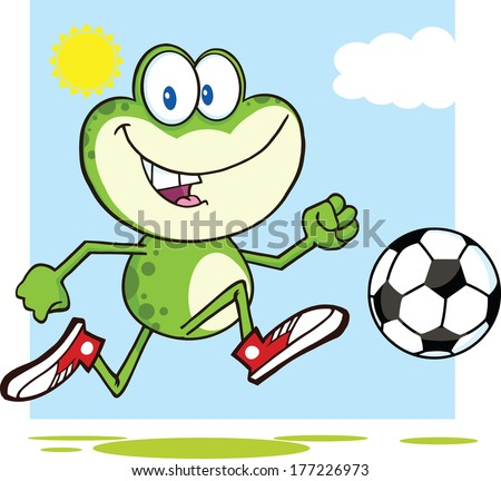 Cute Green Frog Cartoon Mascot Character Playing With Soccer Ball. Vector Illustration Isolated on white