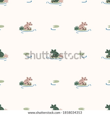 cute green frog on lily pad