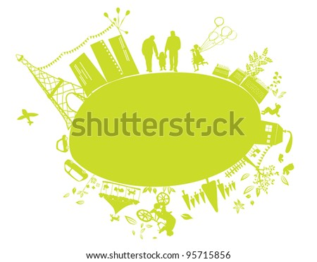cute green little planet earth - stock vector