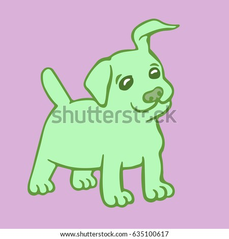 cute green puppy dog vector