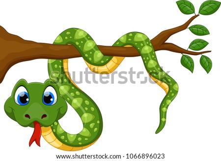 cute green snake cartoon on