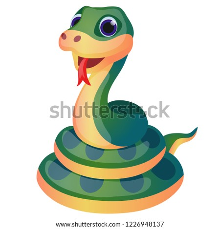 cute green snake isolated on