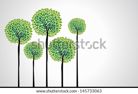 cute green tree forest design