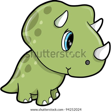 Cute Green Triceratops Dinosaur Vector Illustration