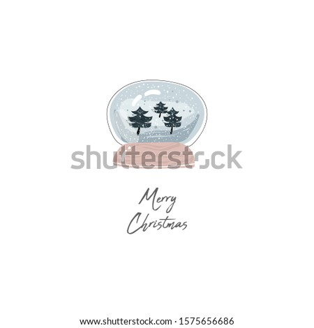 cute greeting card of Merry Christmas with hand drawn cartoon snow globe ball  with little  forest into it