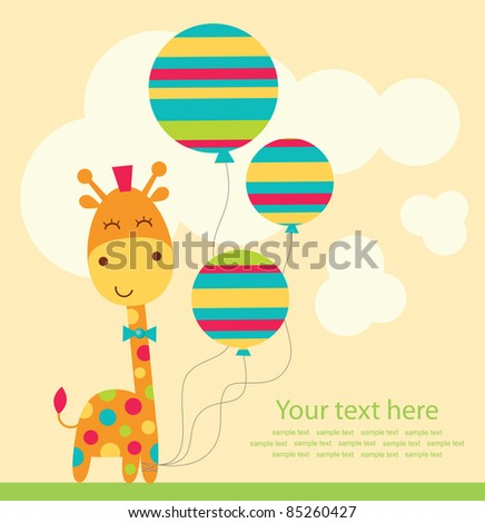 cute greeting card. vector illustration - stock vector