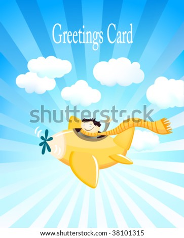 Cute Greeting Card With a Kid on a Plane