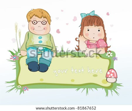 CUTE Greeting card with boy and girl. With space for your text.