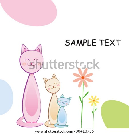 Cute Greeting Card With Cats