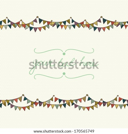 Cute greeting card with colorful childish bunting flags on polka dot background. Hand drawn invitation.