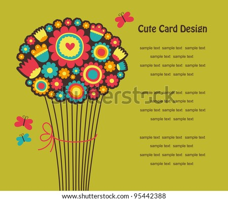 cute greeting card with cute bouqet. vector illustration - stock vector