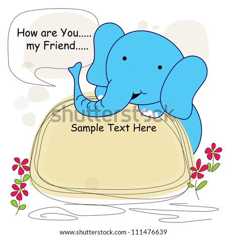 Cute Greeting Card With elephant
