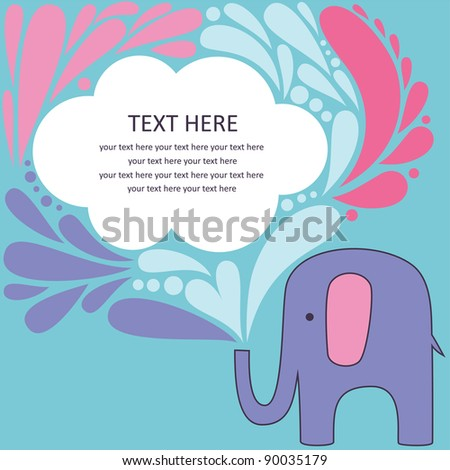 cute greeting card with elephant. vector illustration
