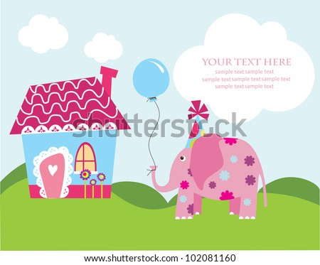 cute greeting card with fun elephant. vector illustration