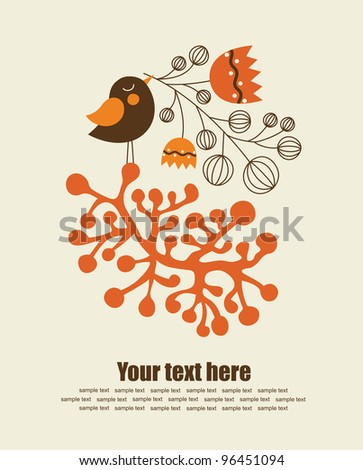 cute greeting card with nice bird. vector illustration