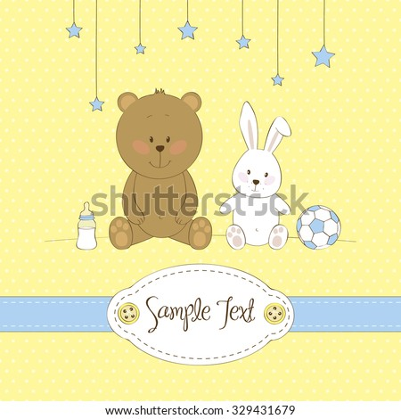 cute greeting card with teddy