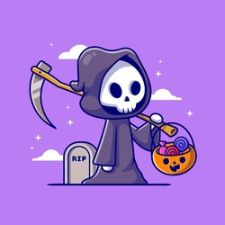 Cute Grim Reaper Holding Candy Basket Cartoon Vector Icon Illustration. People Holiday Icon Concept Isolated Premium Vector. Flat Cartoon Style