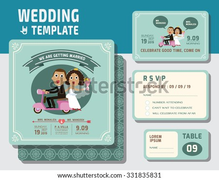 cute groom and bride character wedding invitation card template.