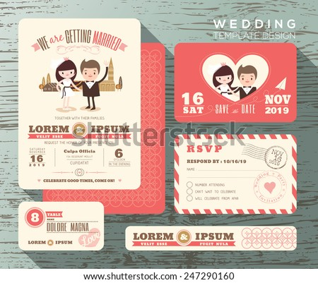 Shutterstock Cute groom and bride couple wedding invitation set design Template Vector response card save the date card