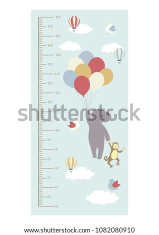 Cute growth height chart. Metric system measuring tape. Flying balloons, hot air balloon, clouds. Funny animals. Hippo, monkey, birds illustration.