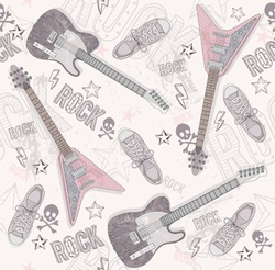 Cute grunge abstract pattern. Seamless pattern with guitars, shoes, skulls, text and stars. Fun pattern for children or teenagers. Pattern with punk or rock music elements.