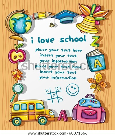 Cute grunge frame with colorful school icons, isolated on wooden background.