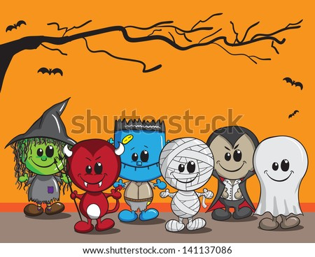 Cute Halloween Monster Illustration - Download Free Vector Art ...