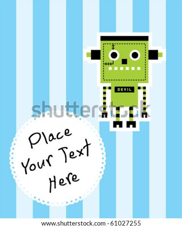 cute halloween monster robot tag